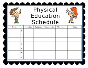 Editable Physical Education Class Schedule