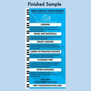 Editable Piano Tuition Infographic