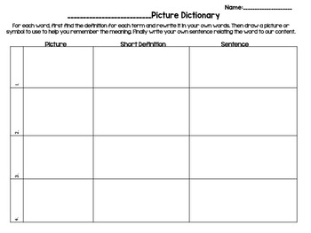 Editable Open-Ended Picture Dictionary Templates