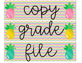 Editable Pineapple 3-drawer labels