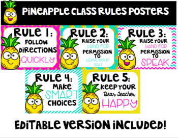 Editable Pineapple Class Rules Poster