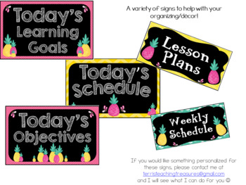Editable Pineapple Classroom Labels
