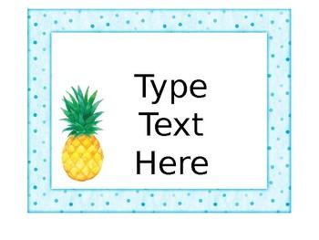 Editable Pineapple Classroom Organization Labels