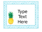 Editable Pineapple Classroom Organization Labels