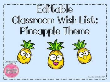 Editable Pineapple Classroom Wish List
