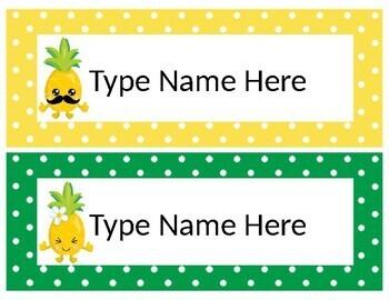Editable Pineapple Desk Plates