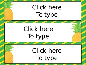 Editable Pineapple Desk Tags