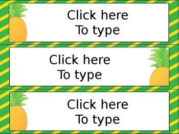 Editable Pineapple Desk Tags
