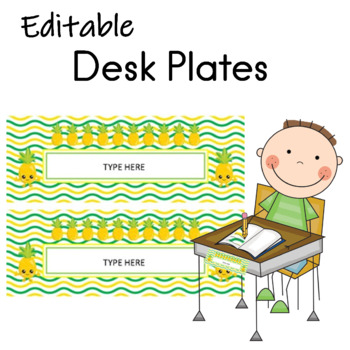 Pineapple Name Desk Plates EDITABLE