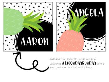 Editable Pineapple Student Name Tags