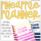 Editable Pineapple Teacher Planner