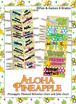 Editable Pineapple themed Classroom Jobs and Behavior Clip Chart