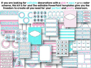 Editable Pink Aqua Gray Class Decor Kit