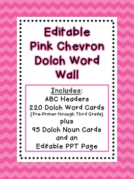 Dolch Word Wall - Pink Chevron {Editable}