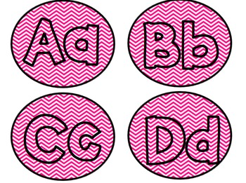 Editable Pink Chevron Word Wall or Reading Level Letters