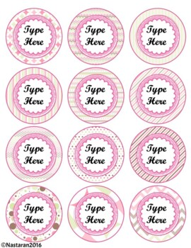 Editable Circle Labels-Pink Round Labels