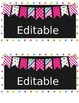 Editable Pink polka dot, striped bunting Container Labels