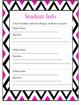 Editable Pink/Black Chevron Sub Binder