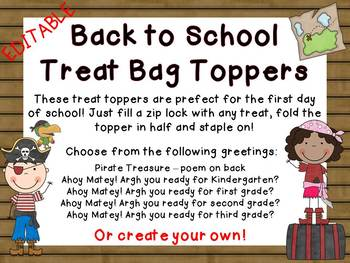 Editable Pirate Back to School Treat Topper