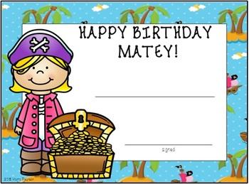 Editable Pirate Birthday Cards