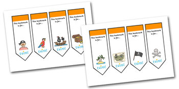 Editable Pirate Bookmarks