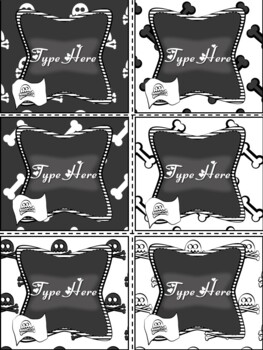 Editable Labels-Black and White Labels Pirate