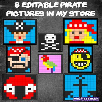 Editable Pirate Mystery Picture #1 - Sight Words Spelling Vocabulary Math