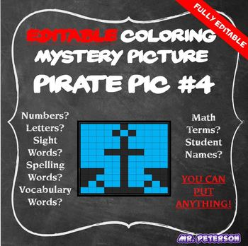 Editable Pirate Mystery Picture #4 - Sight Words Spelling Vocabulary Math