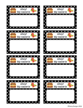 Editable Pirate Name Tags Sampler
