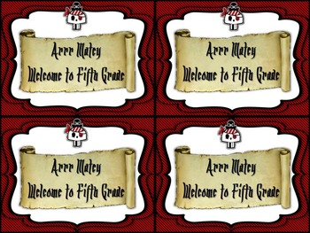 Back to School Editable Pirate Themed  Postcards
