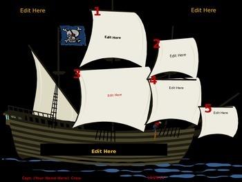 Editable Pirate Themed Morning Work Power Point Slide