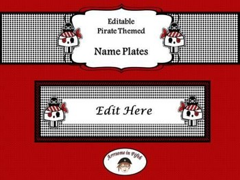Back to School Editable Pirate Themed Nameplates