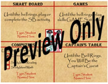 Editable Pirate Themed Small Group Rotation Assignments