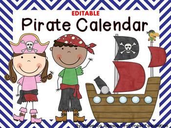 Editable Pirate and Chevron Calendar