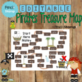 Editable Pirates Treasure Map - Sight words, Letter Recogn