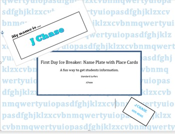 Editable Place Cards and Name Plate Ice Breaker For the First Day of School