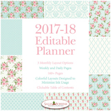 Editable Planner – 2017-2018 Academic Year – Pink Roses