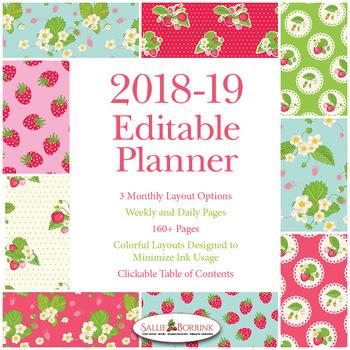 Editable Planner – 2018-2019 Academic Year – Strawberries