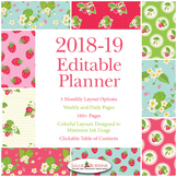 Editable Planner – 2018-2019 Academic Year – Strawberries