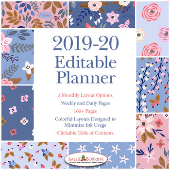 Editable Planner – 2019-2020 Academic Year – Blue and Peach Flowers