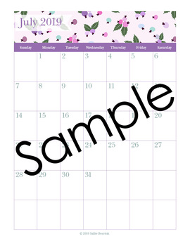 Editable Planner – 2019-2020 Academic Year – Lavender and Teal Flowers