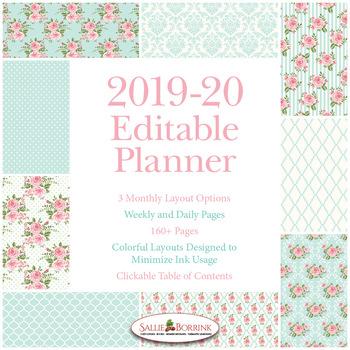Editable Planner – 2019-2020 Academic Year – Pink Roses