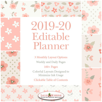 Editable Planner – 2019-2020 Academic Year – Pink Vintage Flowers