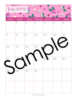 Editable Planner – 2019-2020 Academic Year – Pink and Teal Flowers