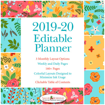 Editable Planner – 2019-2020 Academic Year – Turquoise and Orange Flowers