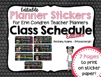 Editable Planner Stickers for Erin Condren Teacher Planner ~ Schedule Edition!