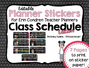 Editable Planner Stickers for Erin Condren Teacher Planner