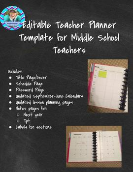 Editable Planner Template for Middle School Teachers