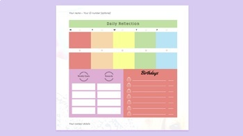 Editable Planner Timetable