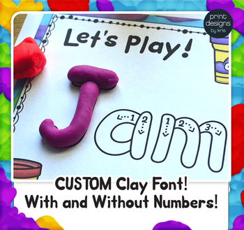 Editable Playdoh Name Mats with Custom Playdoh Font